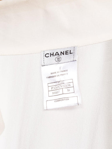 2007 CHANEL Ivory Silk Chiffon Blouse With Logo Mother Of Pearl Buttons