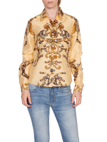 Gucci Baroque Seashell Status Print Silk Top