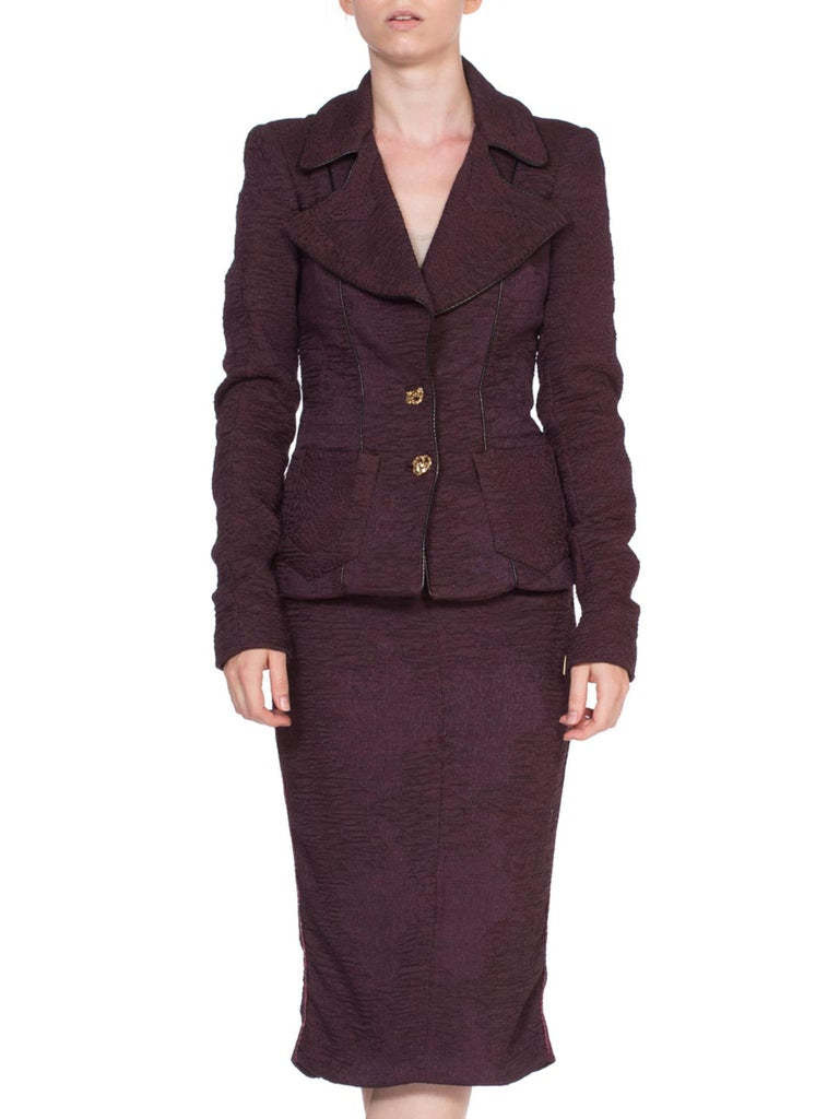 1990's Roberto Cavalli Plum Purple Suit With Snakeskin Piping