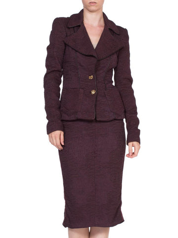 1990'S Roberto Cavalli Plum Purple Skirt Suit