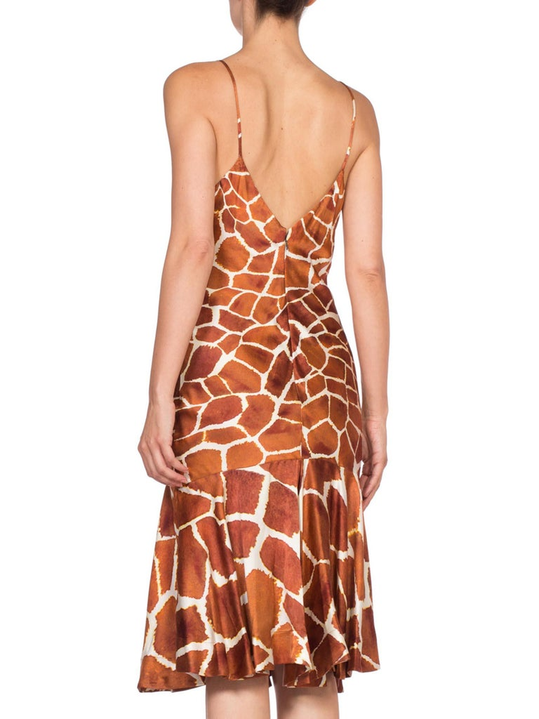 1990'S Roberto Cavalli Animal Print Silk Charmeuse Bias Slip Cocktail Dress