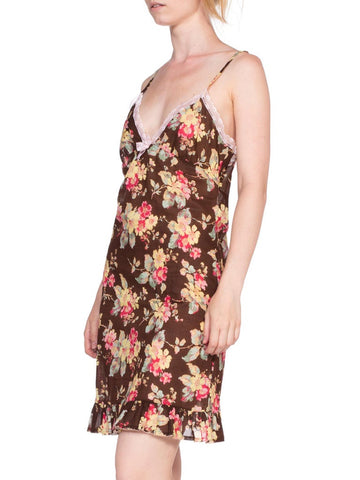 1990'S BLUEMARINE Floral Printed Cotton & Lace Slip Dress