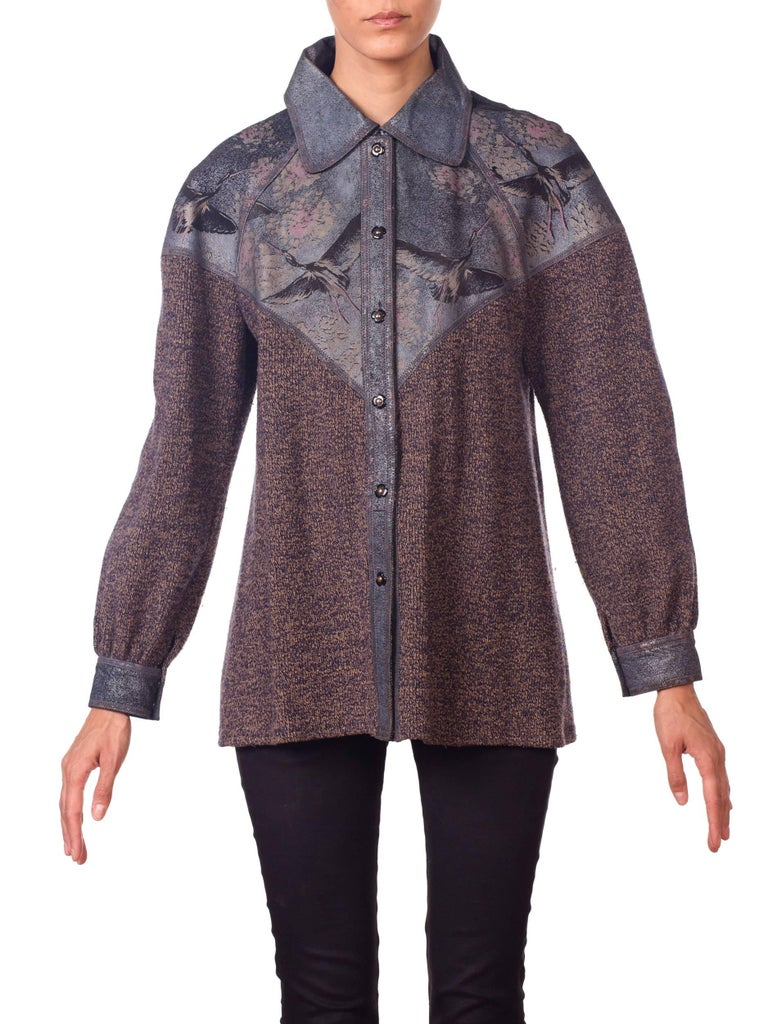 Roberto Cavalli Knit Sweater Jacket with Bird Printed Suede Panels
