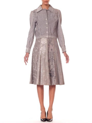 Roberto Cavalli Grey Printed Suede Jacket and Skirt Set, 1970s