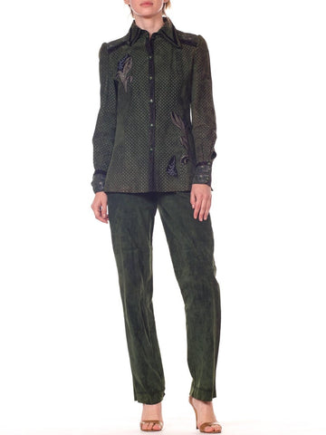 Roberto Cavalli Green Suede Pants and Jacket Set with Printed Panels