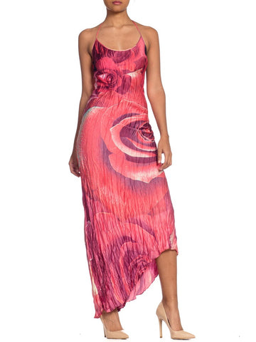 Roberto Cavalli 1990s Red Rose Printed Bias Silk Dress