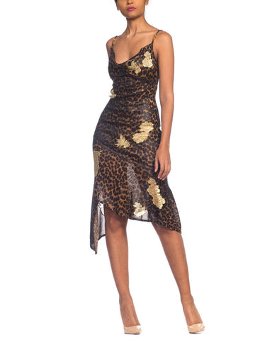 1990s Galliano Christian Dior Leopard Jersey Dress With Metallic Gold Lace