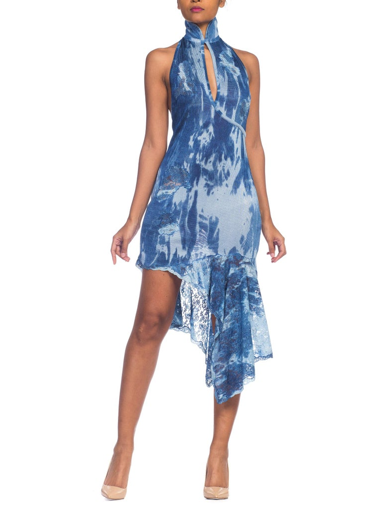 Galliano Dior Hand Tie Dyed Jersey Dress With Lace