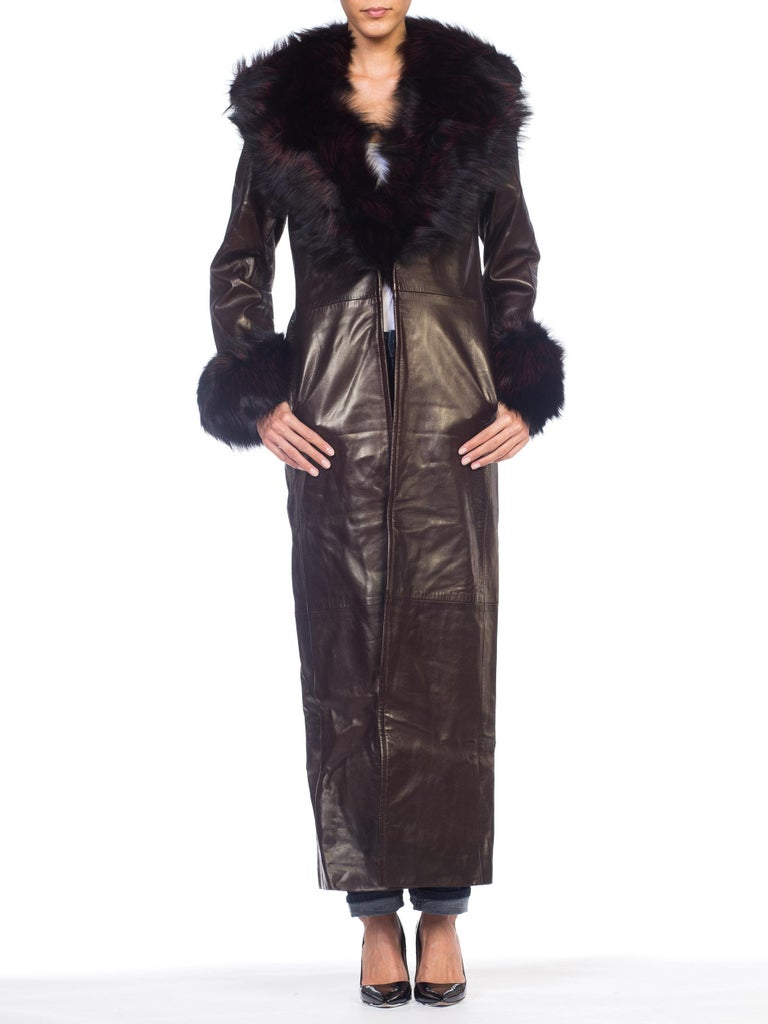 Zang Toi 1990s Butter Soft Leather Trench Coat With Fox Fur & Silk Lining