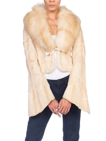1990s Roberto Cavalli Cream Fur Jacket With Fox Collar NWT