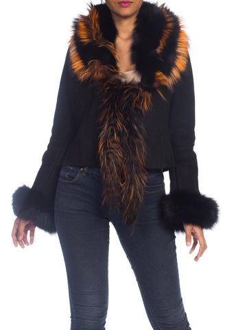 1990s Roberto Cavalli Shearling Jacket With Orange Fox Fur Collar NWT