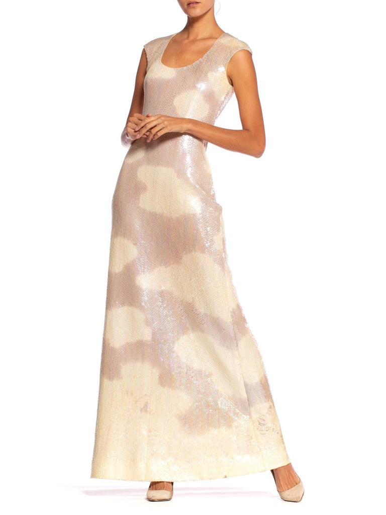 1970'S HALSTON Iconic Sequin Cloud Dress Gown