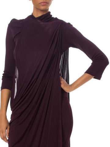 1980S Haider Ackermann Purple Polyester Jersey Twisted Drape Dress