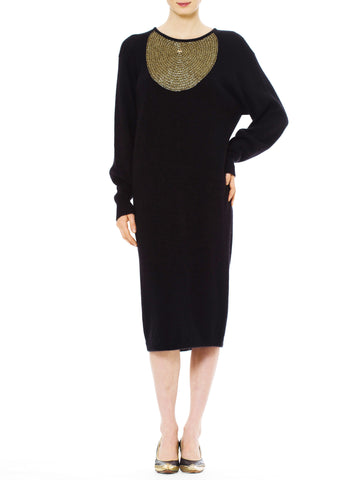 1990s Vintage Krizia Knit Black Dress