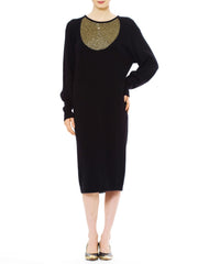 1990S Krizia Black Angora & Wool Knit Sweater Dress With Gold Beadwork