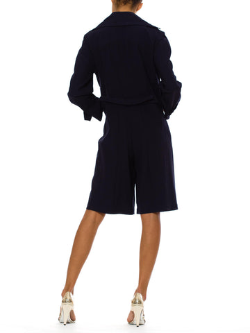 1980S Thierry Mugler Navy Wool Trenchcoat  Romper
