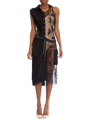 1980s Vintage Moschino Sheer and Black Lace Dress