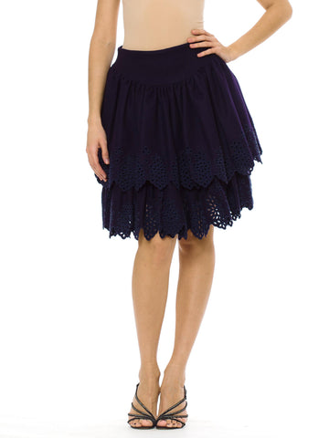 Vintage 1980s LOLITA LEMPICKA Two-tier Dark Purple Ruffled Skirt