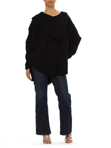 1990S Takenori Otake Black Wool Oversized Cowl Neck Pull Over Top With Pockets