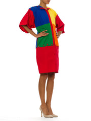 1980s Vintage Jean-Charles de Castelbajac Color Blocked Cotton Dress
