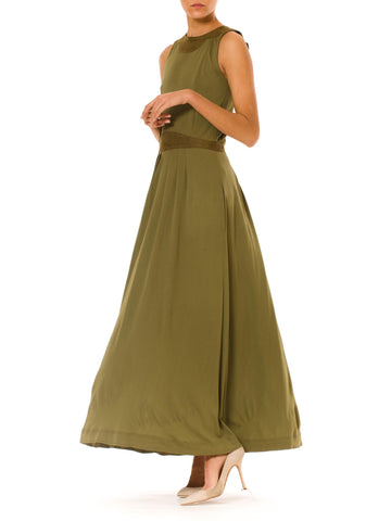 1990s Vintage Jean Muir Long Green Pleated Dress