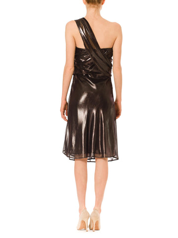 1990S Krizia Metallic Silver Polyester Chiffon Asymmetrically Draped & Bias  Cocktail Dress
