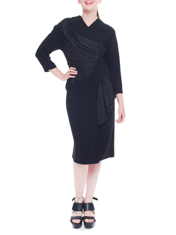 1940S DOROTHY O'hara Black Silk Crepe & Taffeta Asymmetrical Draped Dress