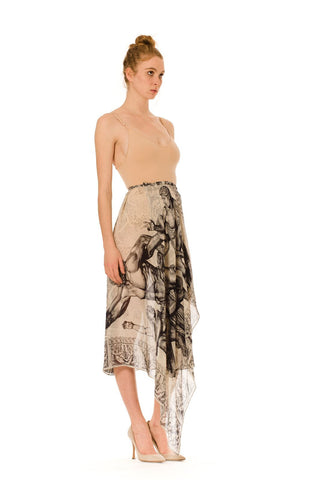 1990S KANSAI YAMAMOTO Silk Chiffon Asymmetrically Draped Wrap Skirt With Classical Print