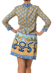 1960s Réty Couture Printed Chinese Dress