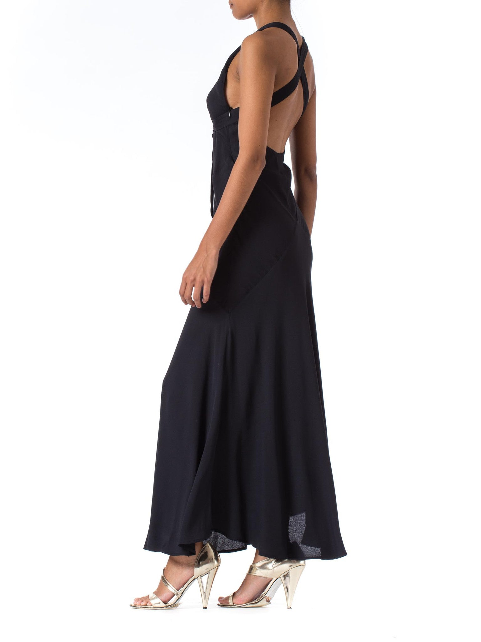 1990S Katharine Hamnett Black Bias Cut Rayon Crepe Backless Halter 30S Style Gown