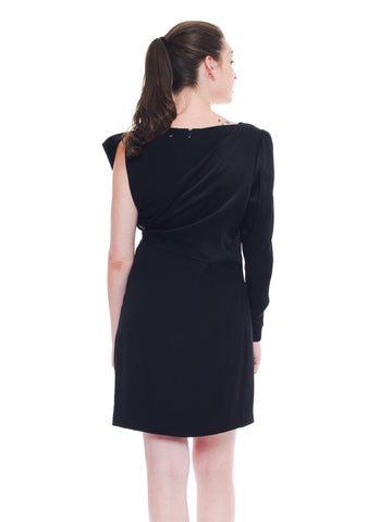 1980S Bill Blass Black Silk Taffeta  Lbd Cocktail Dress