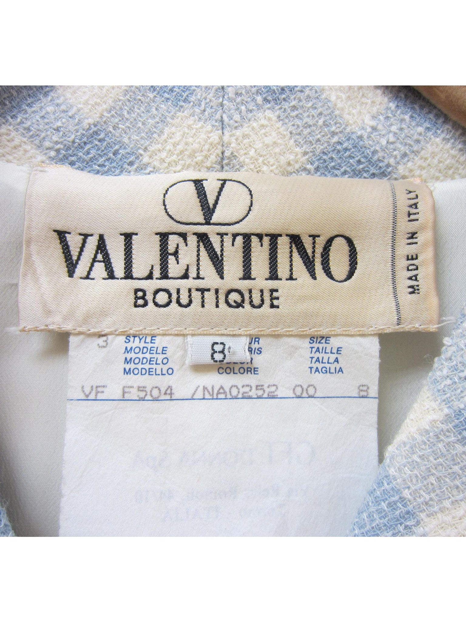 1990'S VALENTINO Lilac & White Wool Blend Skirt Suit