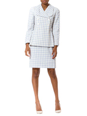 Valentino Boutique Lavender And White Gingham Buisness Suit