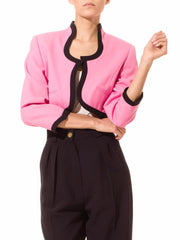 Escada Pink Cropped Jacket with Black Edging
