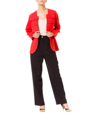 Bright Red Bill Blass X Bergdorf Goodman Wool Jacket