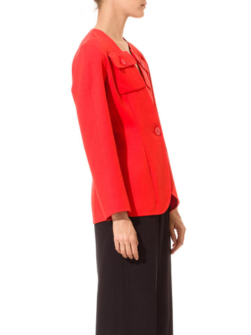 1990'S BILL BLASS Persimmon Red Wool Jacket For Bergdorf Goodman