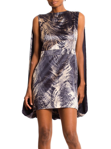 McQ by McQueen Caped Feather Print Dress with Stretch