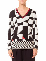 Gianfranco Ferre Geo Black, White, and Red Modern Top