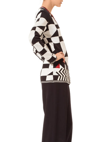 1990'S GIANFRANCO FERRE Black & White Rayon Cotton Optical Patterned Sweater With Embroidery Appliques