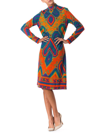 1960s Cozy Ethnic Knit Dress from Leonard Paris