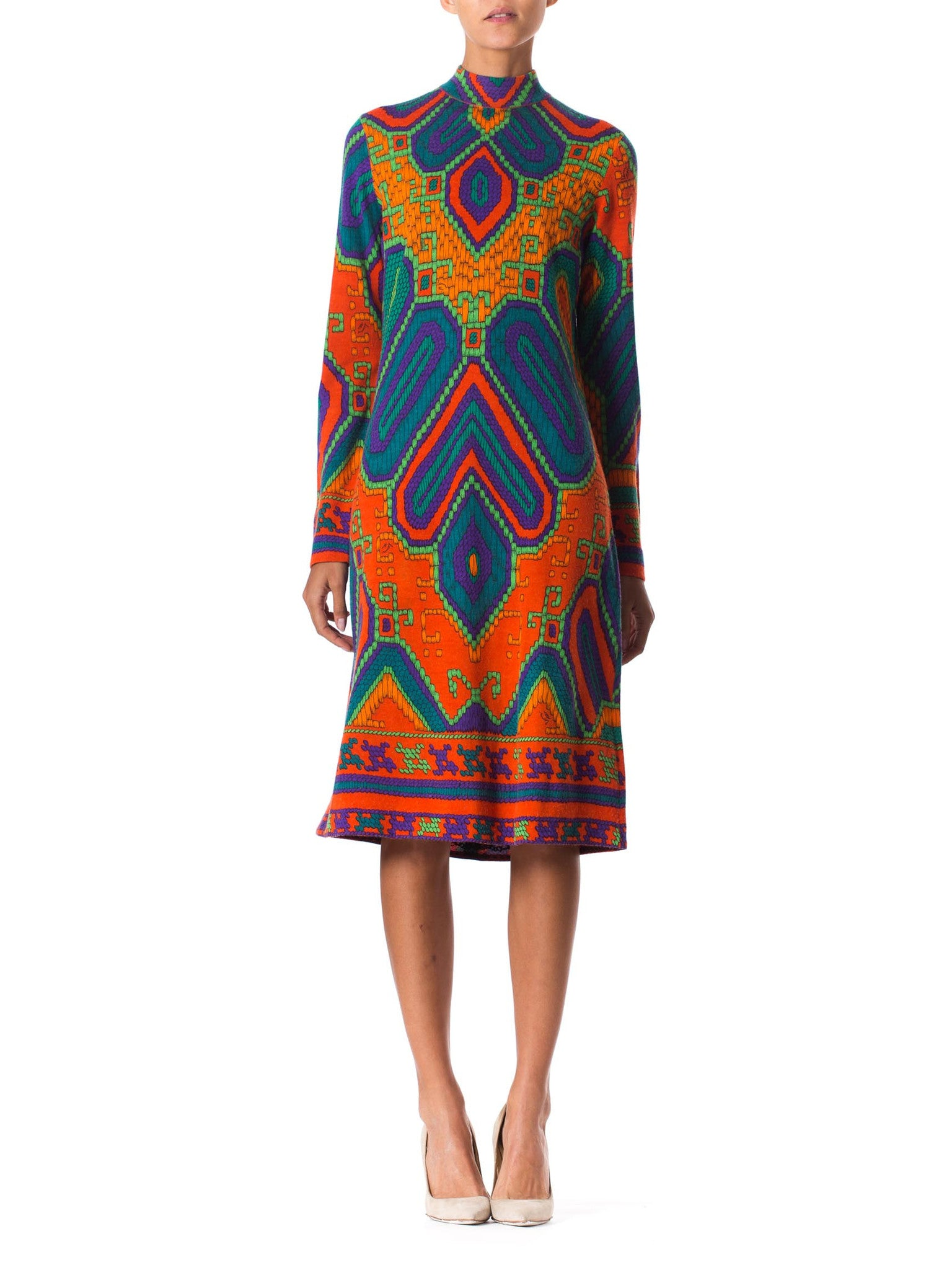 1960S LEONARD Orange & Blue Wool Blend Knit Long Sleeve Moroccan Print Mod Dress