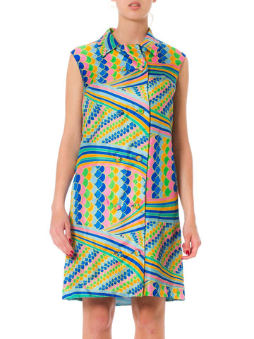 1960s Malcolm Starr Psychedelic Print Double Breast Sleeveless Silk Dress