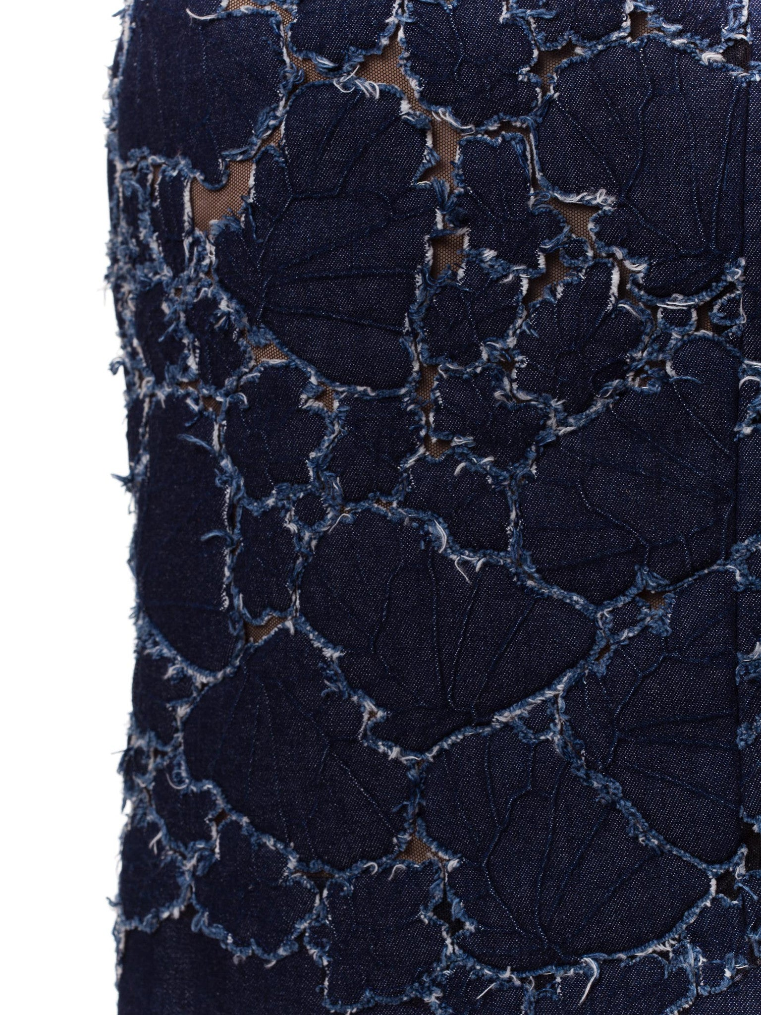 1980S  THIERRY MUGLER COUTURE Cotton Denim Leaves Appliquéd Onto Stretch Net Skirt
