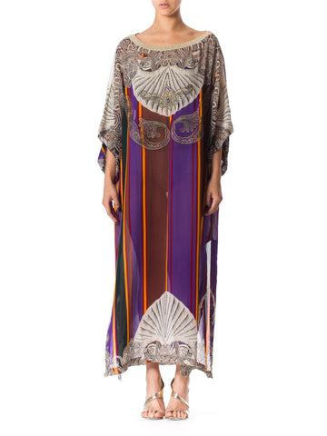 1990s Baroque Inspired Gold Embroidered Chiffon Tunic from Gianfranco Ferre