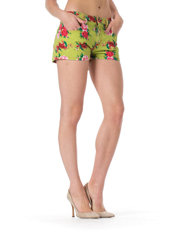 1980S TODD OLDHAM Jeans Green Floral And Feather Print Shorts