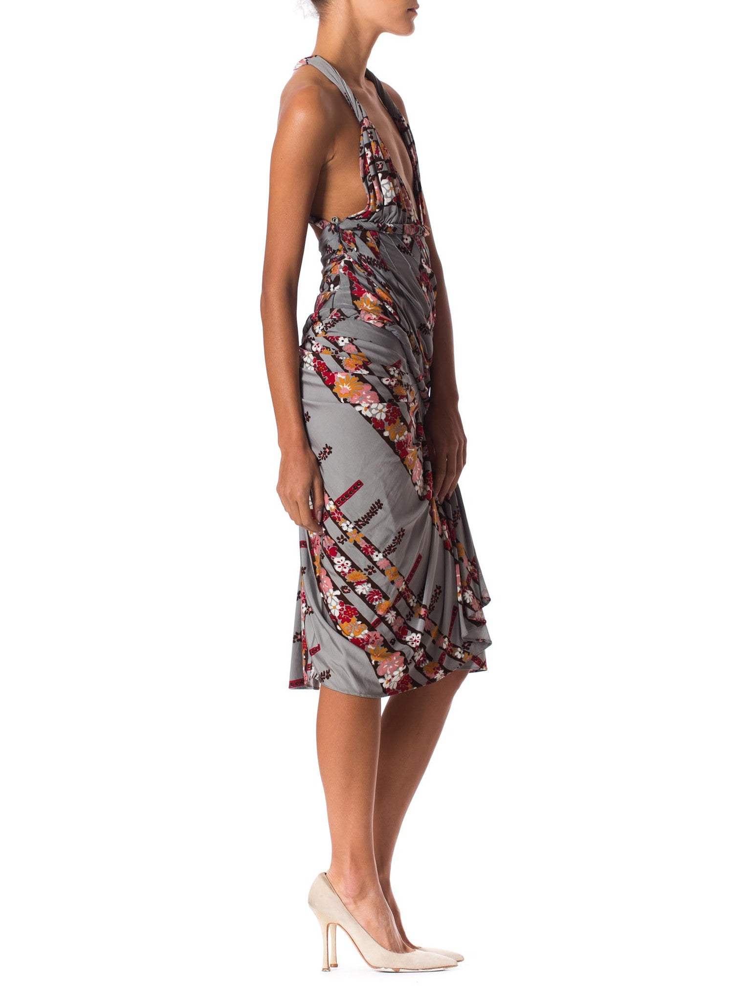 2000S Emanuel Ungaro Floral Rayon Blend Jersey Runway Sample Dress With Sexy Pleated Draping