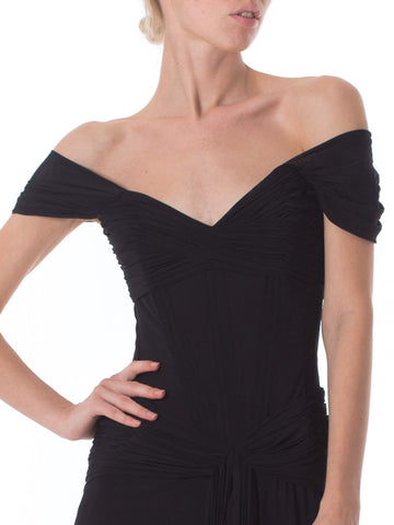 1980S VICKY TIEL COUTURE Black Rayon & Nylon Jersey Net Corset Off The Shoulder Gown