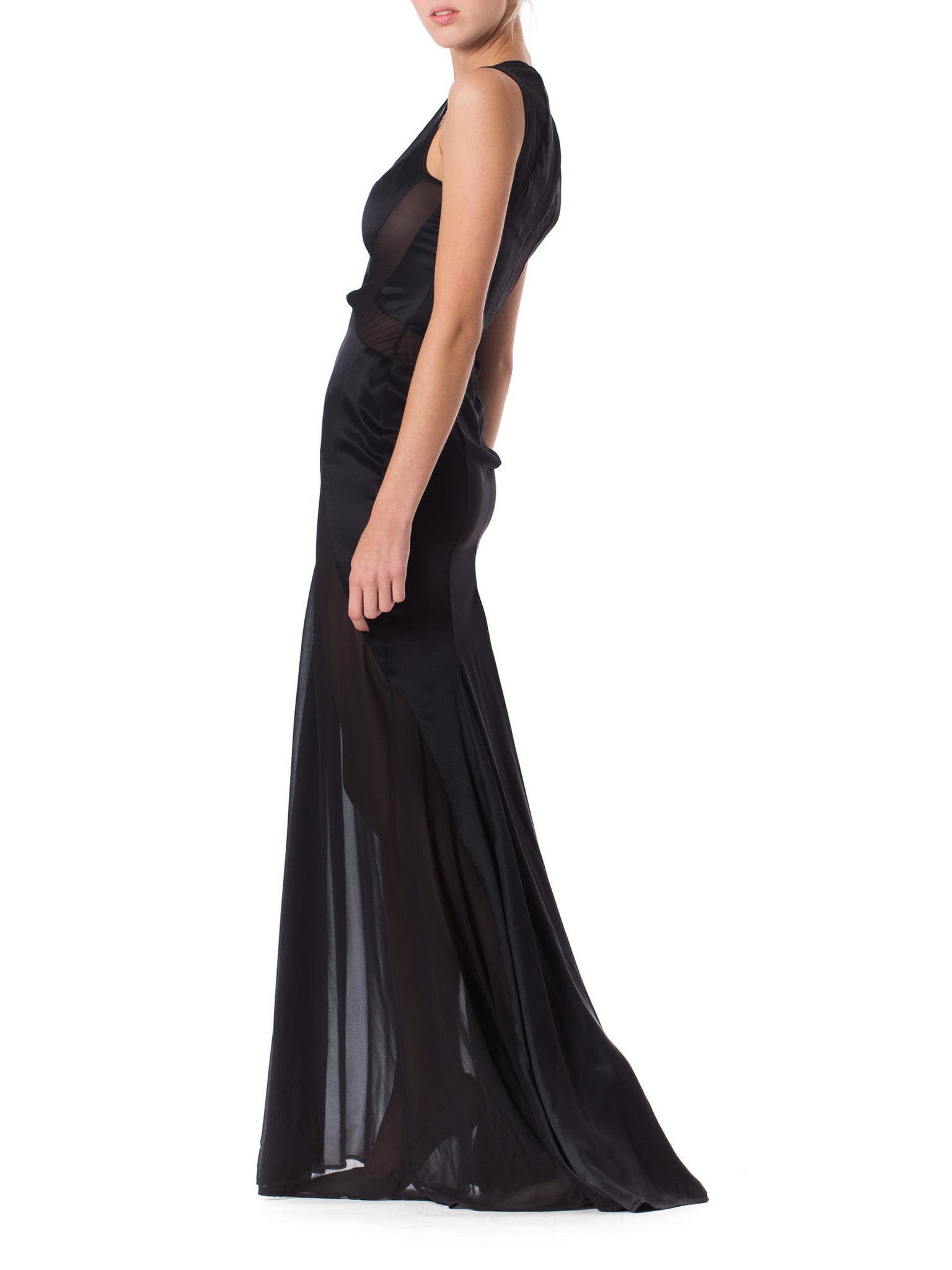 2000S VERSACE Black Silk Charmeuse Gown With Sheer Chiffon Peek-A-Boo Panels