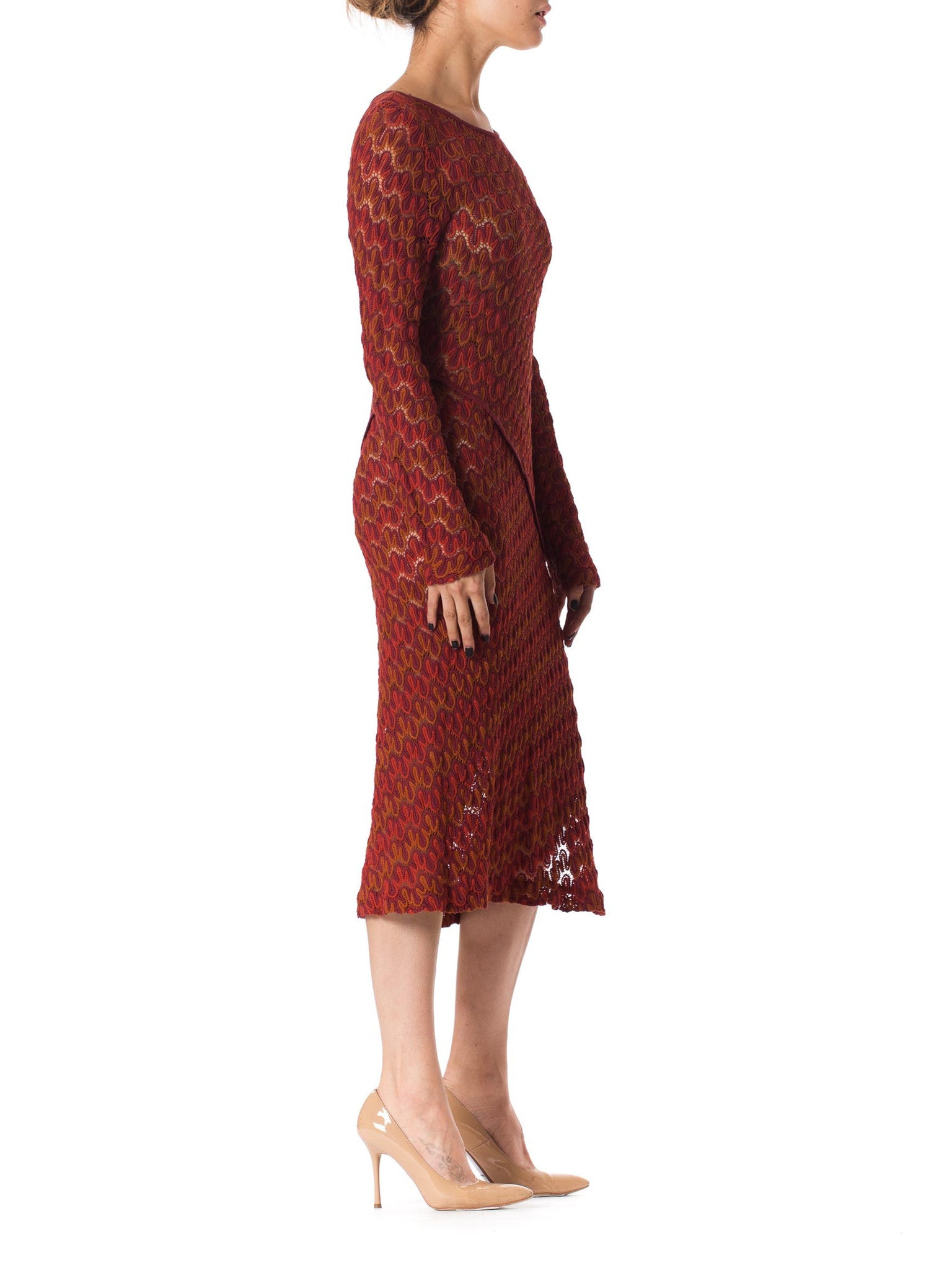 1970S Missoni Knit Style Burgundy Silk Long Sleeve Dress With Side Slit