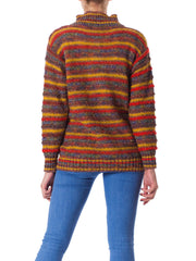 1980S Missoni Multicolor Striped Wool Knit Pheasant Novelty Sweater